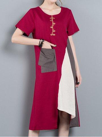 Embroidered Patchwork Irregular Short Sleeve O-neck Dress For Women-Newchic-