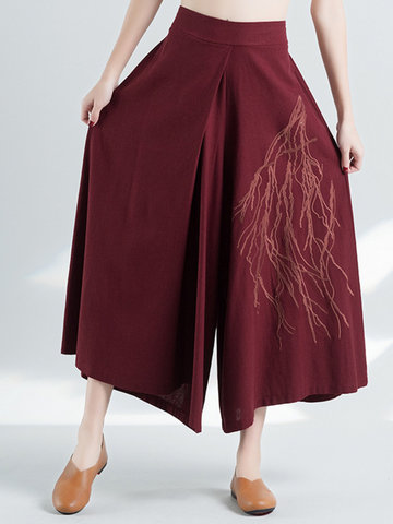 Embroidery Elastic High Waist Women Pants-Newchic-