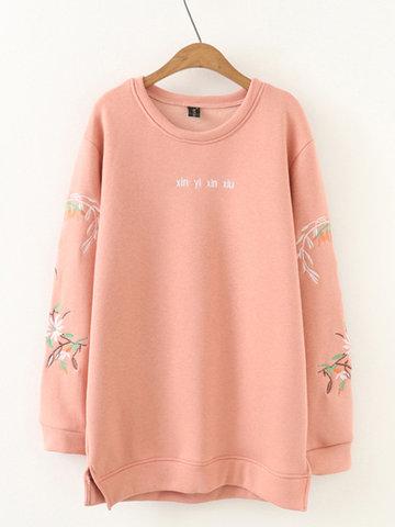 Embroidery Fluff Sweatshirt Shirts-Newchic-