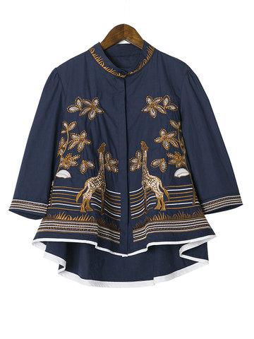 Embroidery Giraffe Irregular Hem Tops-Newchic-