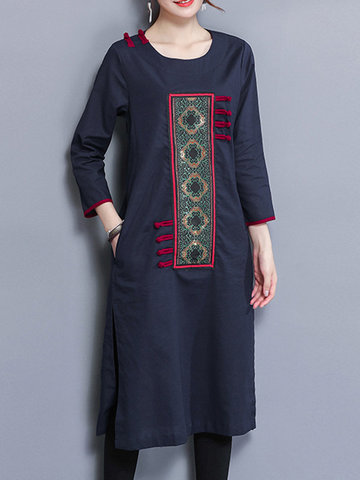 Embroidery Patchwork Splited Women Dresses-Newchic-