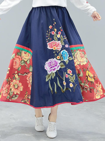 Embroidery Printed Stitching Maxi Skirt-Newchic-