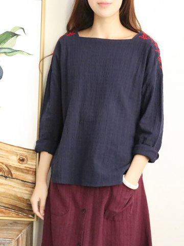 Embroidery Solid Color Square Collar Shirt-Newchic-