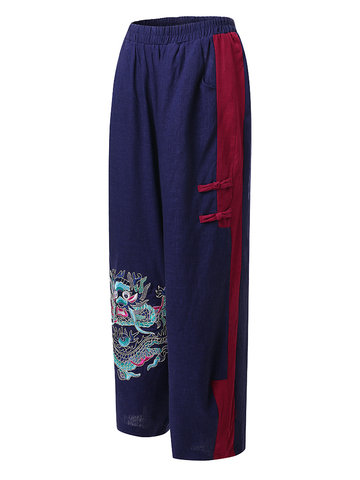 Embroidery Stitching Color Lantern Pant-Newchic-