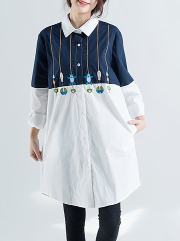 Embroidery Stitching Long Blouse-Newchic-