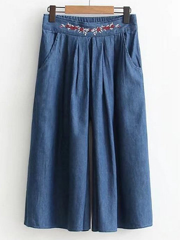 Ethnic Embroidery High Waist Elastic Denim Wide Leg Pants-Newchic-