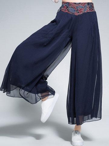 Ethnic Embroidery Wide Leg Women Pants-Newchic-