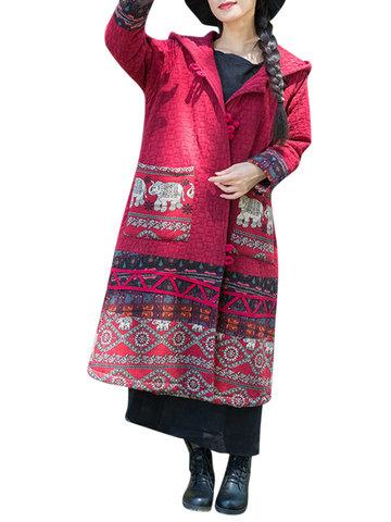 Ethnic Print Patchwork Women Coats-Newchic-