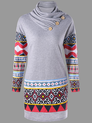 Ethnic Printed Package Hip Mini Dresses-Newchic-