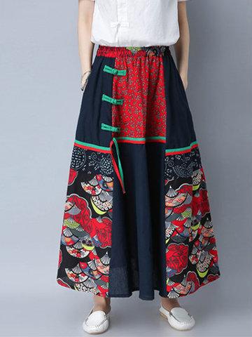 Ethnic Women Patchwork Elastic Waist Loose Maxi Skirts-Newchic-