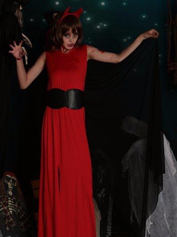 Evil Queen Of Vampire Witch Sexy Split Uniform Halloween Costumes Dress-Newchic-