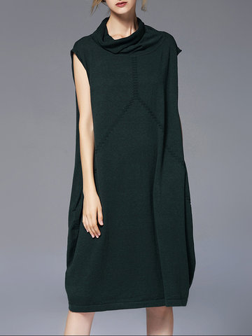 FRMZ Turtleneck Sleeveless Sweater Dresses-Newchic-