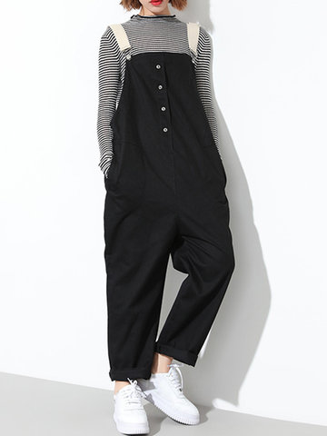 Fashion Button Strap Pocket Jumpsuits-Newchic-