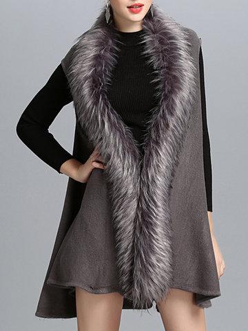 Fashion Faux Fur Patchwork Women Vest Coats-Newchic-