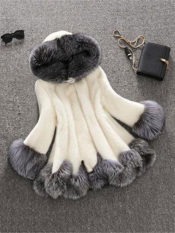 Fashion Hooded Faux Fur Coats-Newchic-
