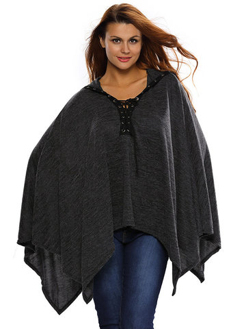 Fashion Loose V Neck Hooded Lace-up Cloak Blouse For Women-Newchic-