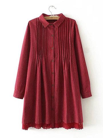 Fashion Stripe Ruffle Long Sleeve Lapel Shirt-Newchic-