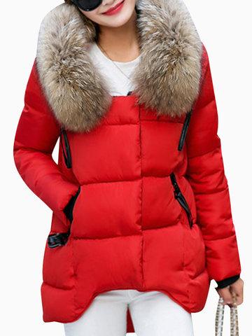 Faux Fur Hooded Irregular Puffer Coats-Newchic-