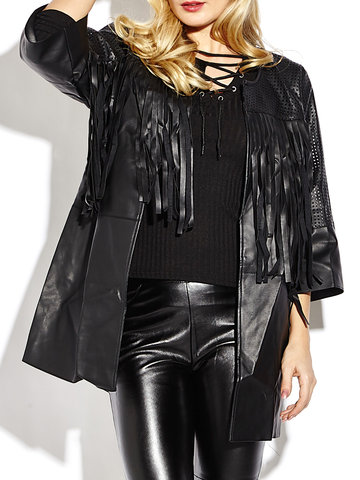 Faux Leather Hollow Out Tassel Women Long Jacket-Newchic-
