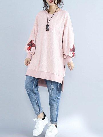 Fish Embroidered Irregular Women Sweatshirt-Newchic-