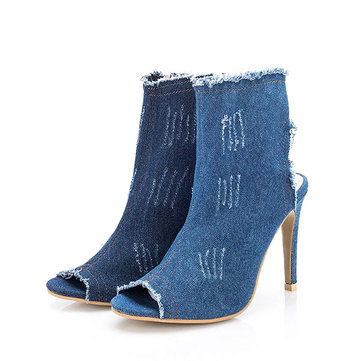 Fish mouth Denim Wearable High Thin Heels Casual Boots For Women-Newchic-Blue