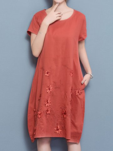 Floral Embroidered Loose Short Sleeve O-neck Dress For Women-Newchic-