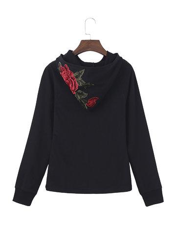 Floral Embroidered Women Sweatshirts-Newchic-