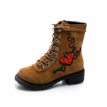 Floral Embroidery Ankle Boots-Newchic-Multicolor