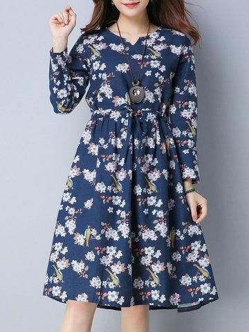 Floral Print Drawstring Women Dresses-Newchic-