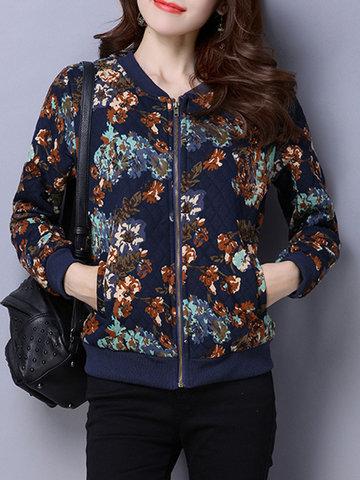 Floral Print Patchwork Women Jackets-Newchic-