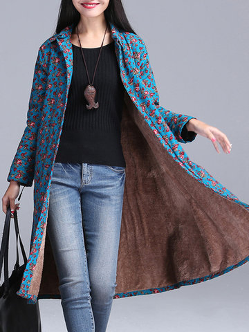 Floral Print Thicken Lapel Women Coats-Newchic-
