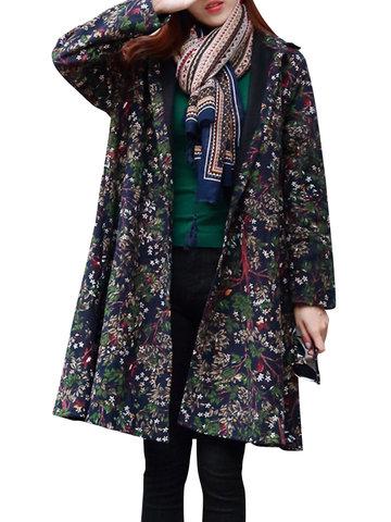 Floral Print Thicken Women Coats-Newchic-