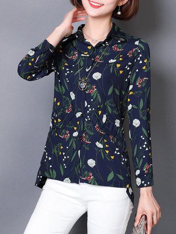 Floral Print Turn-down Collar Casual Shirt-Newchic-