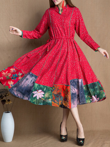 Floral Printed Large Hem Patchwork Cotton Dress-Newchic-