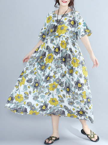 Floral Printed Loose O-Neck Short Sleeve Women Casual Dresses-Newchic-