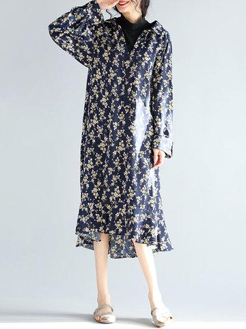 Floral Printed O-Neck Ruffled Hem Women Chiffon Dresses-Newchic-