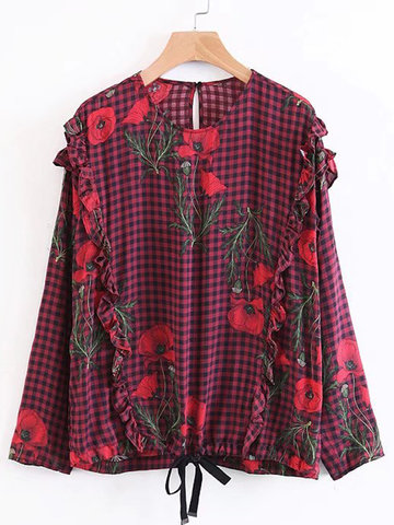 Floral Printed Plaid O-neck Shirts-Newchic-