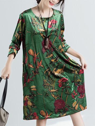 Floral Printed Velvet Vintage Dresses-Newchic-