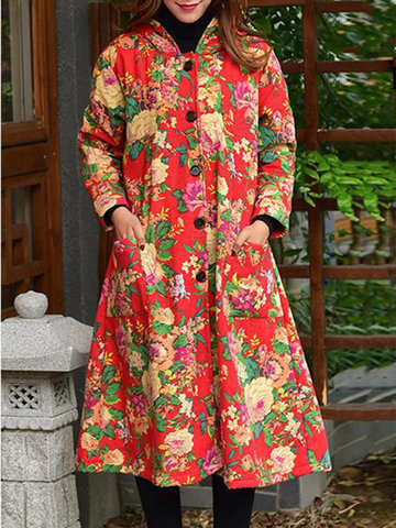 Floral Printed Vintage Thicken Coats-Newchic-