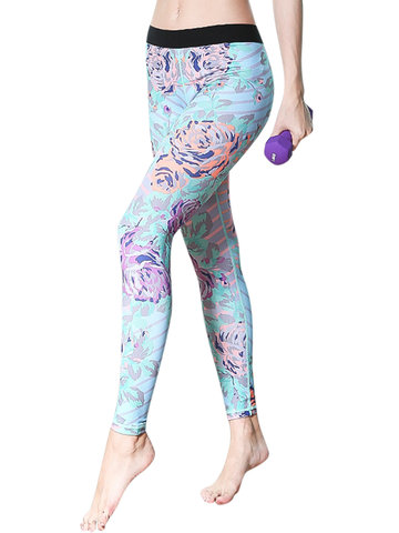 Floral Stretch Slimming Active Pants-Newchic-