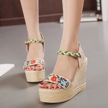 Flower Embroidery Leather National Wind Weave Buckle Peep Toe Platform Sandals-Newchic-Black