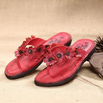 Flower Genuine Leather Flip Flops Folkways Beach Slippers-Newchic-Multicolor
