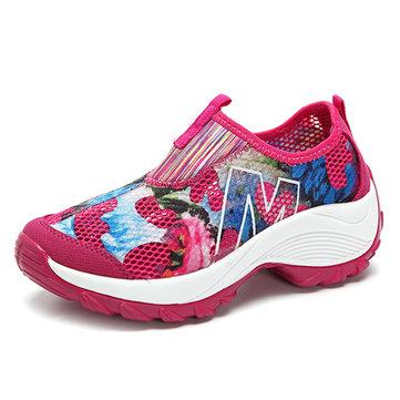 Flower Mesh Breathable Platform Rocker Sole Casual Shoes-Newchic-Multicolor