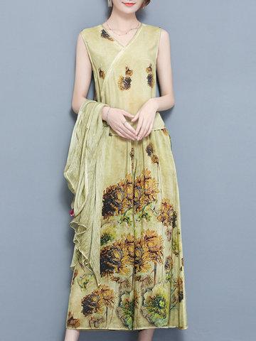 Flower Sleeveless Tops Wide Leg Pants Solid Kimonos-Newchic-