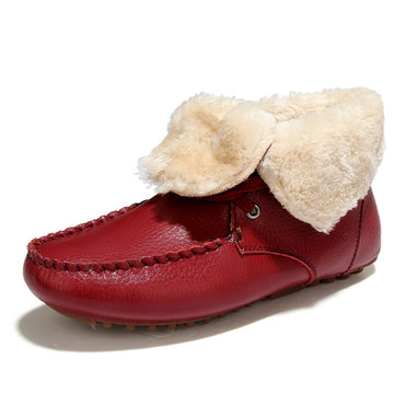 Folded Fur Lining Slip On Flat Warm Boots For Women-Newchic-Multicolor