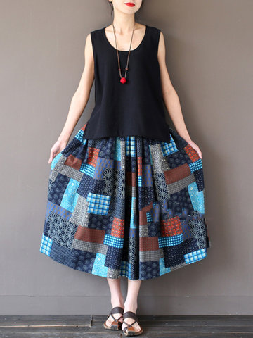 Folk Style Geometric Print Patchwork Elastic Waist Women Skirts-Newchic-