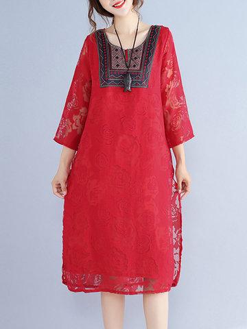 Folk Style Lace Dresses-Newchic-