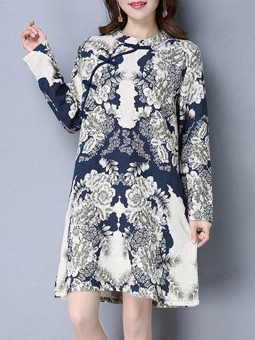 Folk Style Print Frog Button Long Sleeve Stand Collar Women Dresses-Newchic-