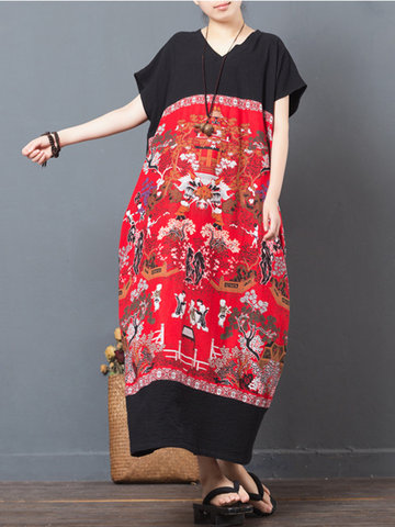 Folk Style Print Patchwork Short Sleeve V-neck Women Maxi Dress-Newchic-