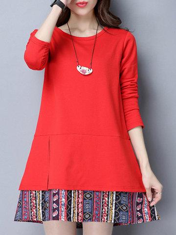 Folk Style Print Patchwork Women Dresses-Newchic-